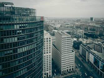 MAR 2016: Bahntower, Internationales Handelszentrum, Kollhoff-Tower, Mitte, Potsdamer Platz